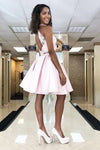 Two Piece Lace Top Satin Skirt Homecoming Dress With Beading
