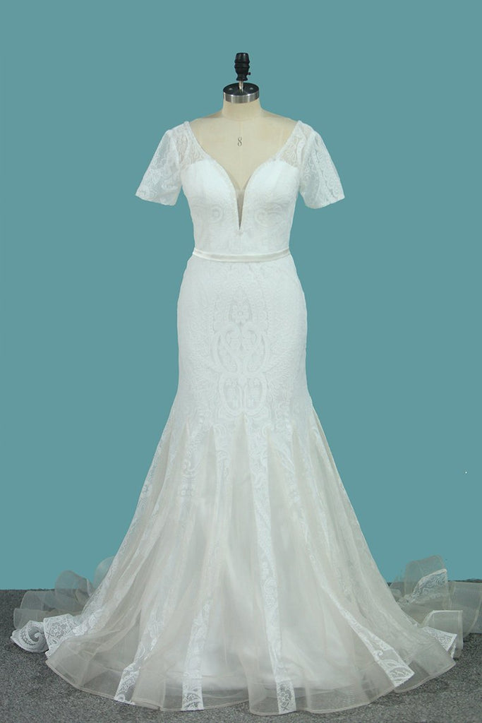 Short Sleeve Wedding Dresses Tulle Mermaid With Applique And Sash Sweep Train