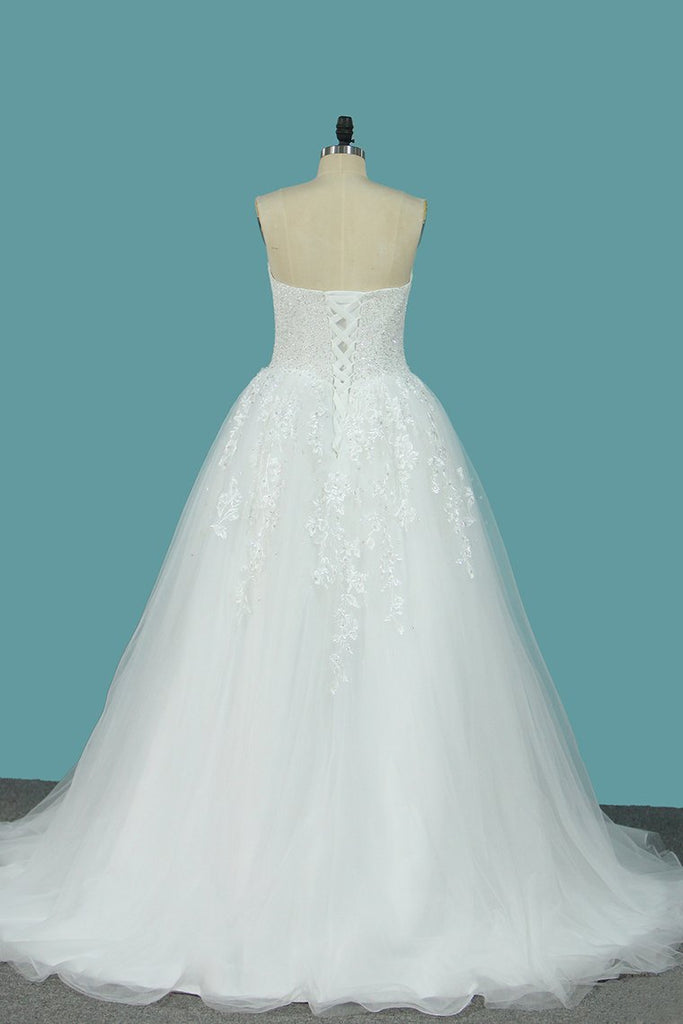 Sweetheart Organza A Line Wedding Dresses With Applique And Beads Sweep Train