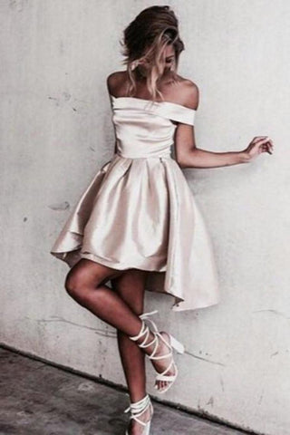 Simple A-Line Off The Shoulder High Low Satin Sleeveless Homecoming Dress