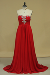 Prom Dress Sweetheart A Line Chiffon With Ruffles And Beads
