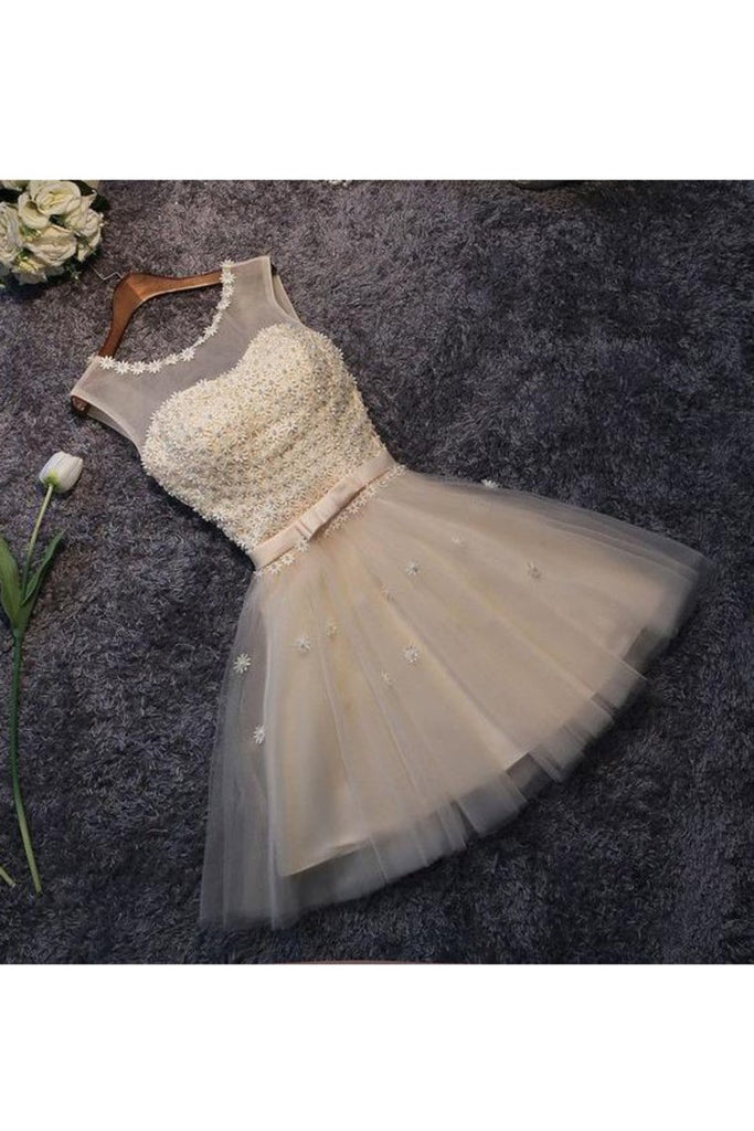 Homecoming Dresses A Line Scoop Tulle With Handmade Flowers Short/Mini