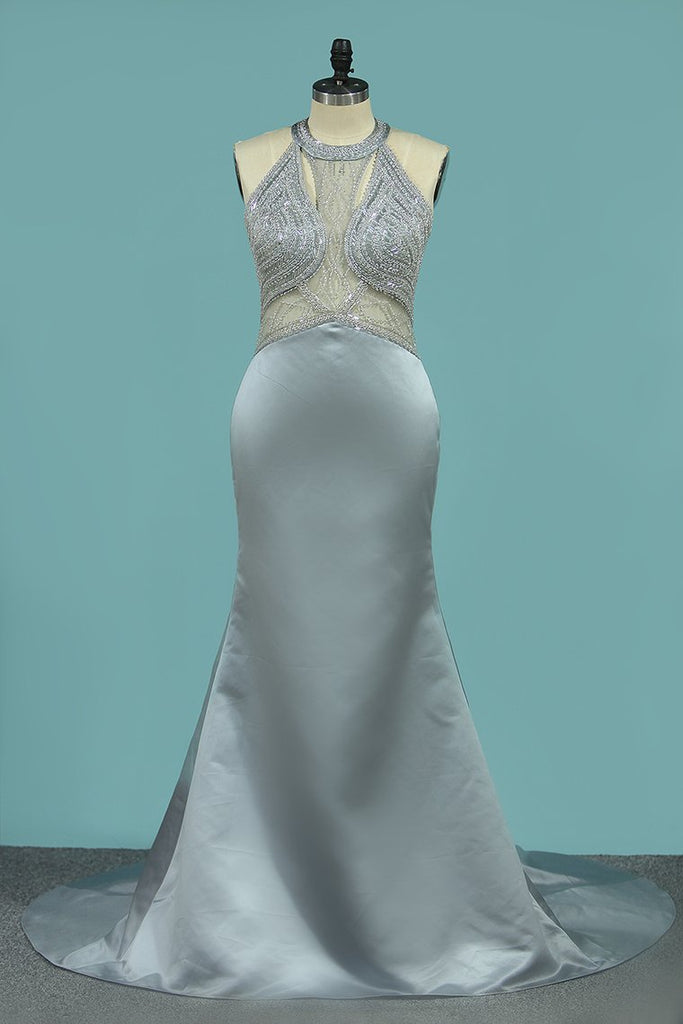Open Back Prom Dresses Mermaid Scoop Satin With Beaded Bodice