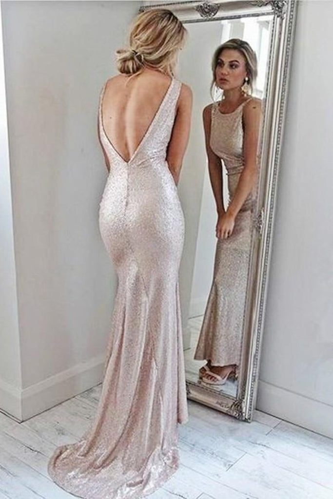 Sparkly Open Back Pink Sheath Long Prom Dresses Evening Dresses