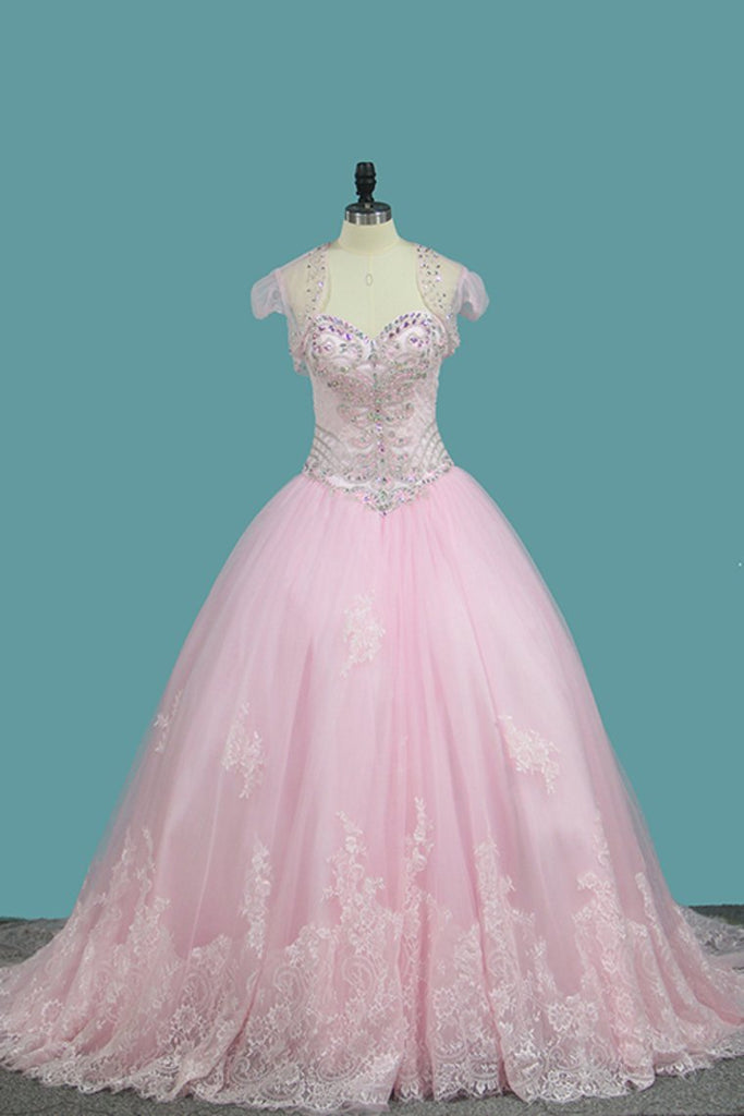 Ball Gown Quinceanera Dresses Sweetheart Sweep/Brush Lace Up Back Applique And Beading