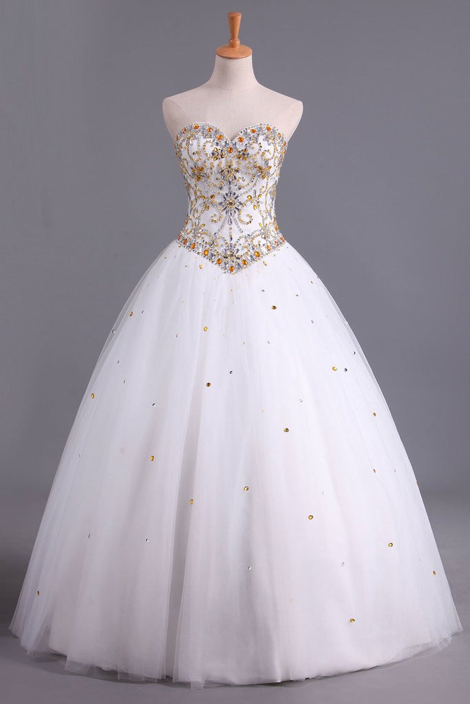 Charming Quinceanera Dresses Sweetheart A Line Floor Length With Beads Ivory