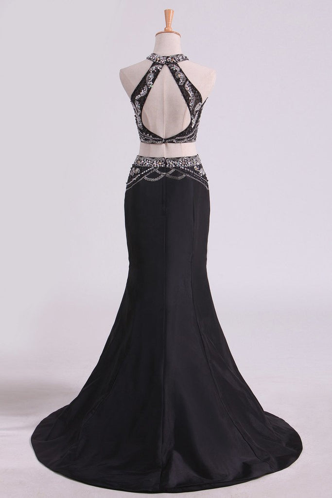 Black Open Back Prom Dresses Mermaid Floor Length Satin