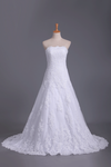 Wedding Dresses Strapless Tulle With Applique Chapel Train