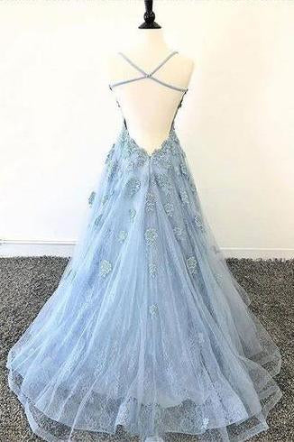Lace Appliques Sky Blue Prom Dress with Criss Cross Back