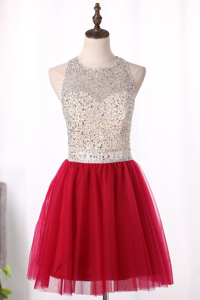 Scoop A Line Homecoming Dresses Tulle With Beading Short/Mini