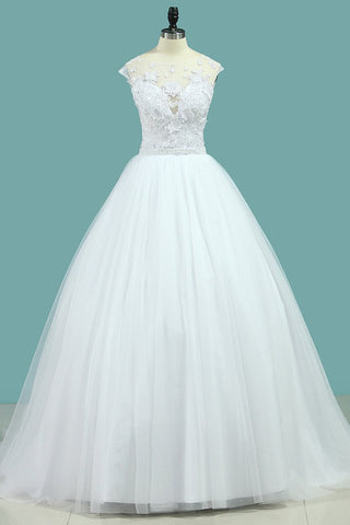 Wedding Dresses Scoop Tulle With Applique A Line Court Train