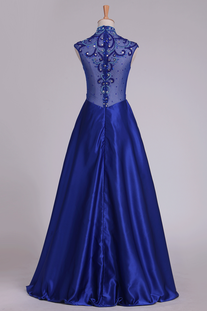 High Neck Prom Dresses Satin With Beading Floor Length Dark Royal Blue