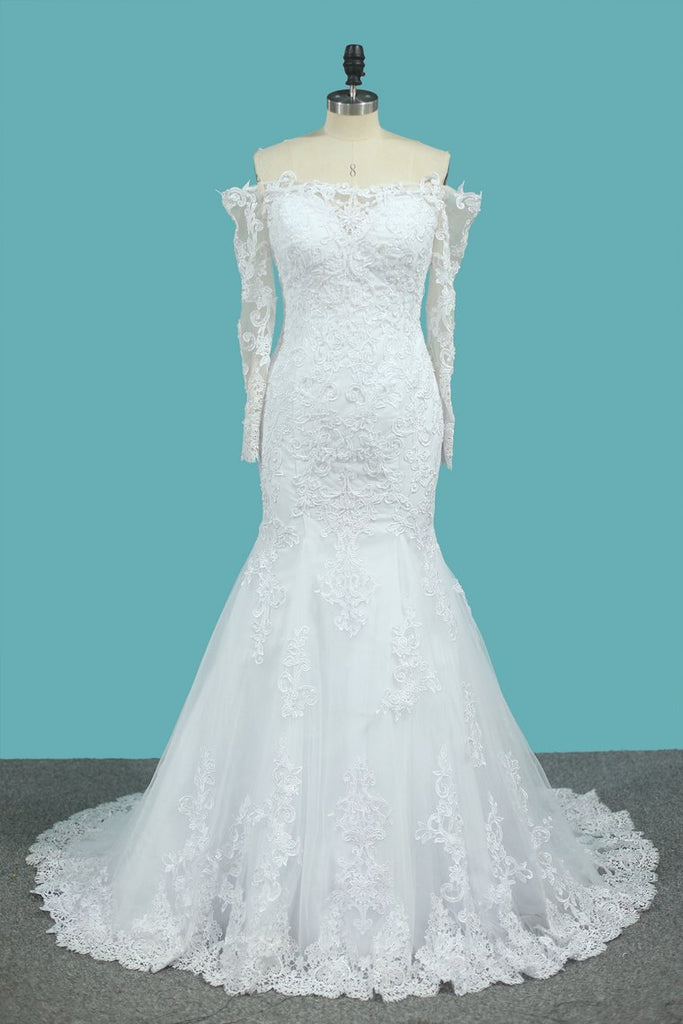 Long Sleeves Mermaid Tulle Off The Shoulder Wedding Dresses With Applique And Beads