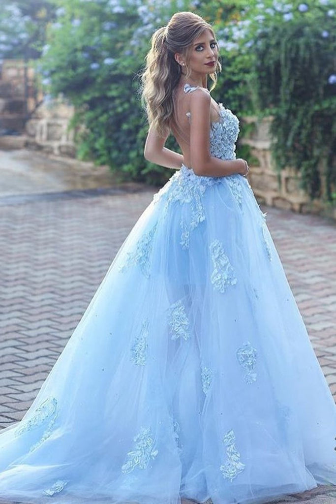 Bateau A Line Prom Dresses Tulle With Applique Sweep Train