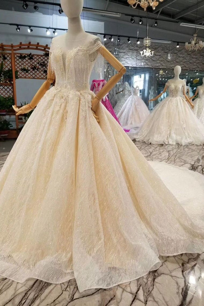 Lace Wedding Dresses Scoop Cap Sleeves Lace Up Back Royal Train