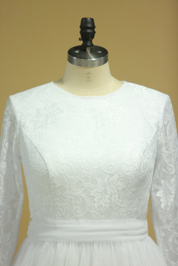 Plus Size Long Sleeves Wedding Dresses Scoop A Line Tulle & Lace Sweep Train