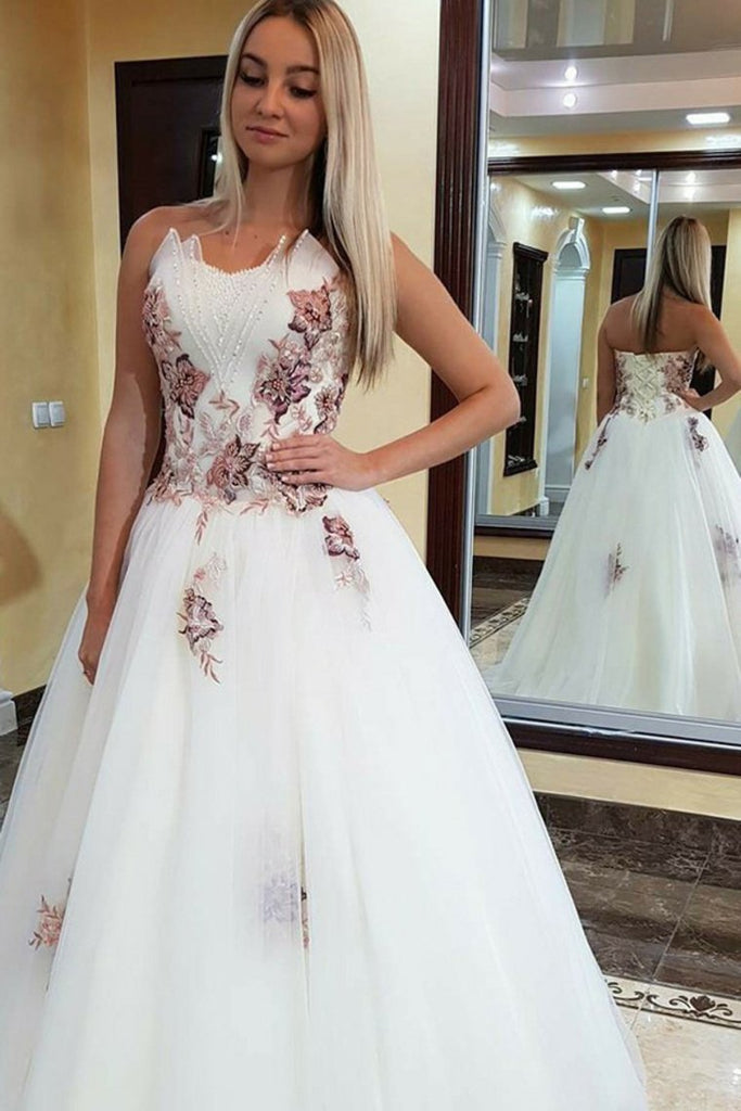 Beautiful Modest Long Ball Gown Long Ivory Elegant Princess Prom Dresses Quinceanera Dresses