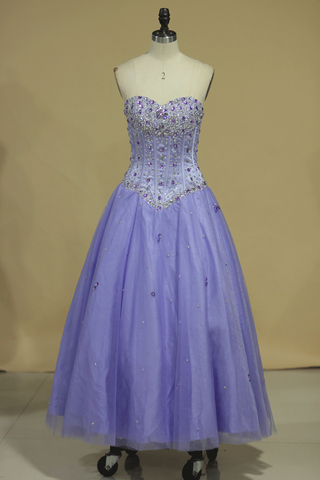 Tulle Sweetheart Beaded Bodice Ball Gown Quinceanera Dresses