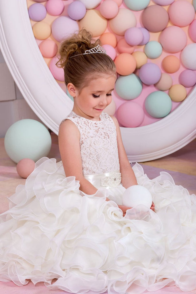 Flower Girl Dresses A Line Chiffon & Lace With Sash Lace Up