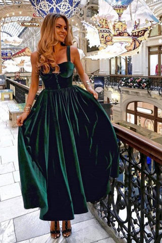 Vintage A-Line Sweetheart Straps Open Back Dark Green Velvet Floor Length Prom Dresses SJS15481