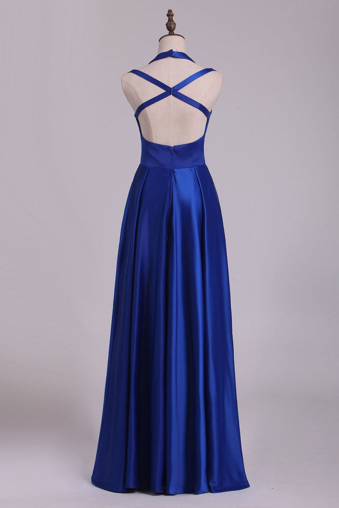 Scoop Prom Dresses A Line Open Back Stretch Satin With Slit Floor Length