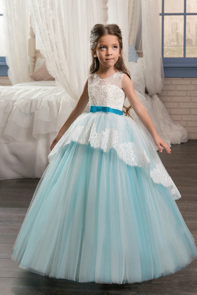 Ball Gown Scoop With Applique Flower Girl Dresses Tulle Floor Length