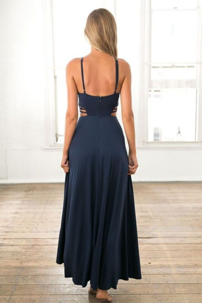 Evening Dresses A Line Spaghetti Straps Chiffon With Slit Floor Length