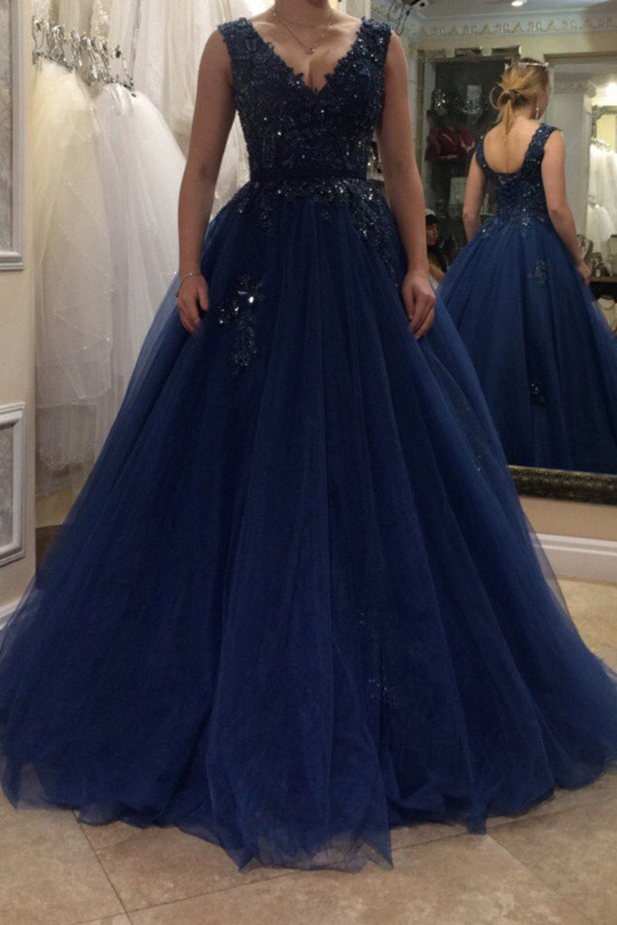 Tulle V Neck Prom Dresses A Line With Applique And Sash Sweep Train