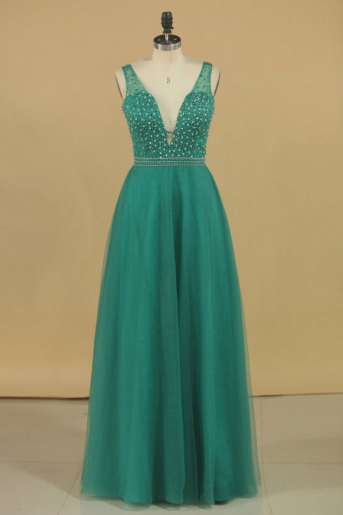 A Line V Neck Prom Dresses Tulle With Beading Floor Length