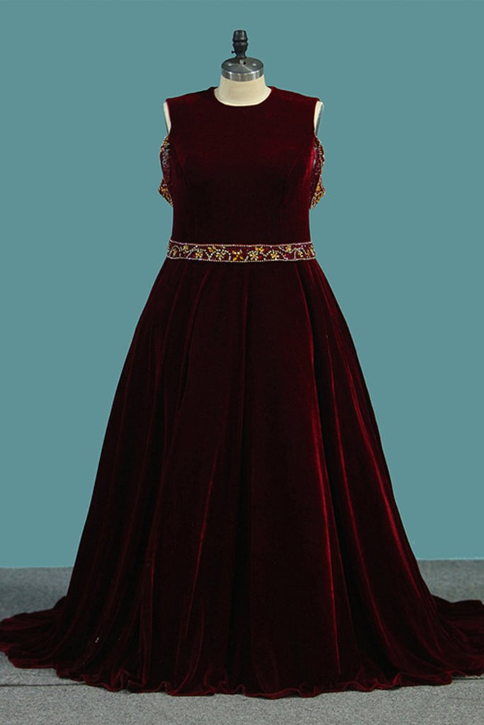 Spaghetti Straps A Line Velvet Prom Dresses With Beading Sweep Train