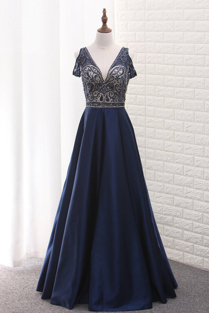 V Neck Beaded Bodice Satin A Line Open Back Floor Length Prom Dress
