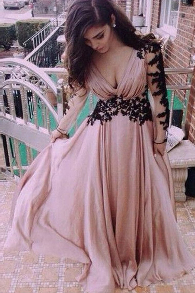 A-Line/Princess Long Sleeves V-Neck Chiffon Applique Floor-Length Dresses Evening Dress