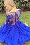 A Line V Neck Long Sleeves Homecoming Dresses Chiffon With Applique
