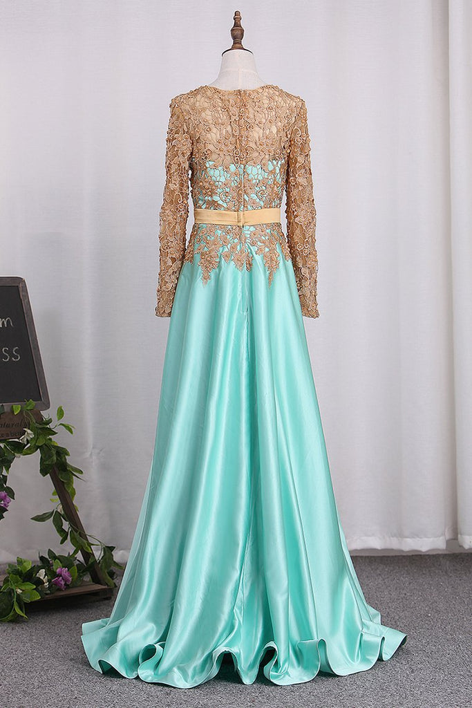 Scoop Long Sleeves Satin A Line With Applique Evening Dresses