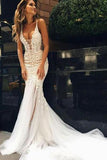 Luxurious Mermaid Long V-neck Wedding Dress with Open Back JS544