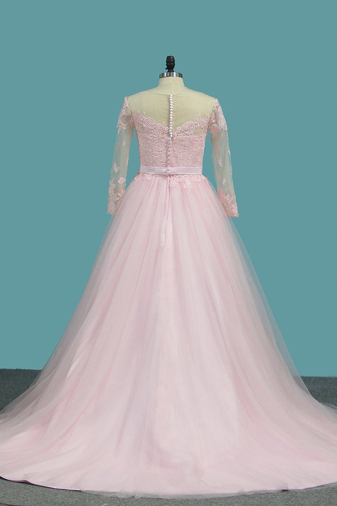 A Line Tulle Long Sleeves Scoop Wedding Dresses With Applique And Sash Sweep Train