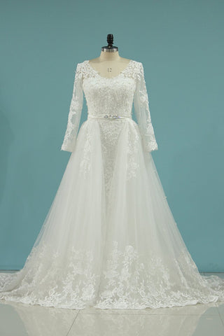 2019 Wedding Dresses V Neck Sheath With Applique Long Sleeves Detachable Train