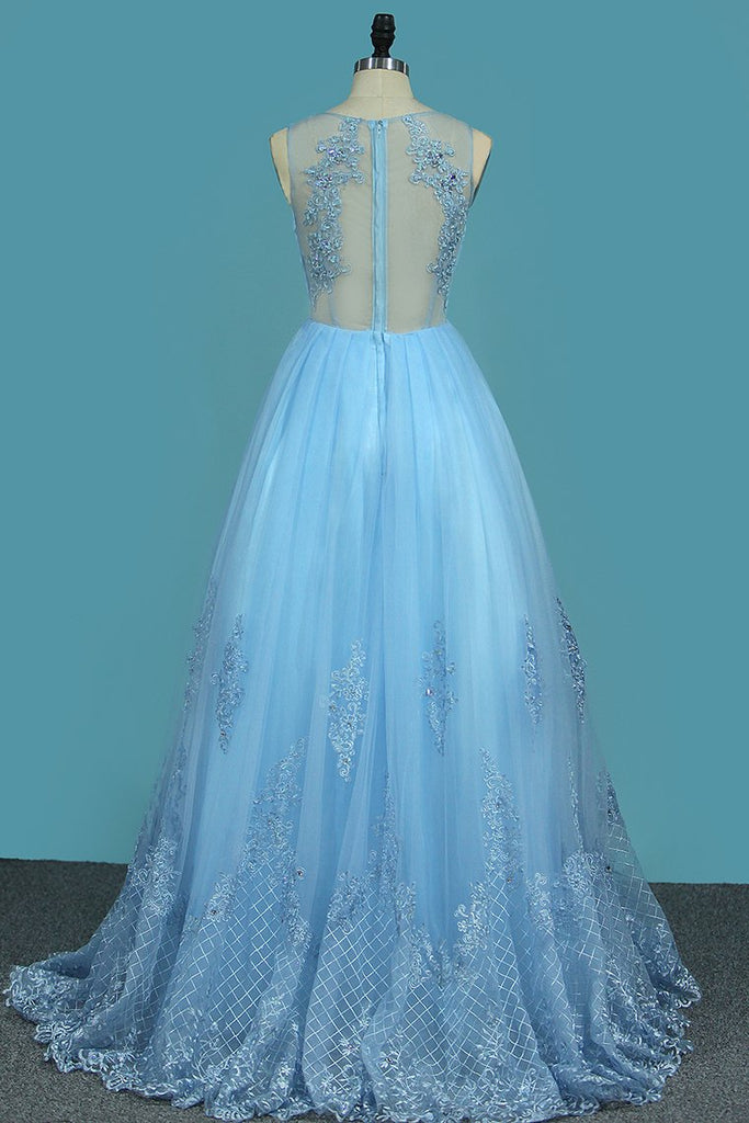 A Line V Neck Prom Dresses Tulle With Applique And Beads Sweep Train