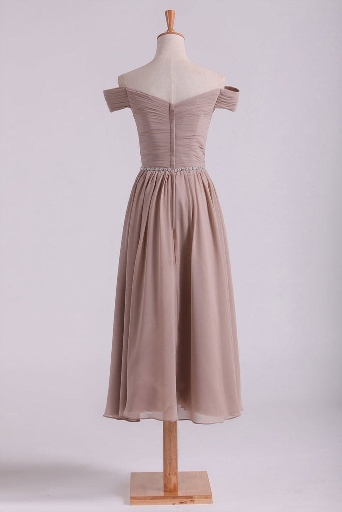 Off The Shoulder Bridesmaid Dresses A-Line Tea Length Chiffon
