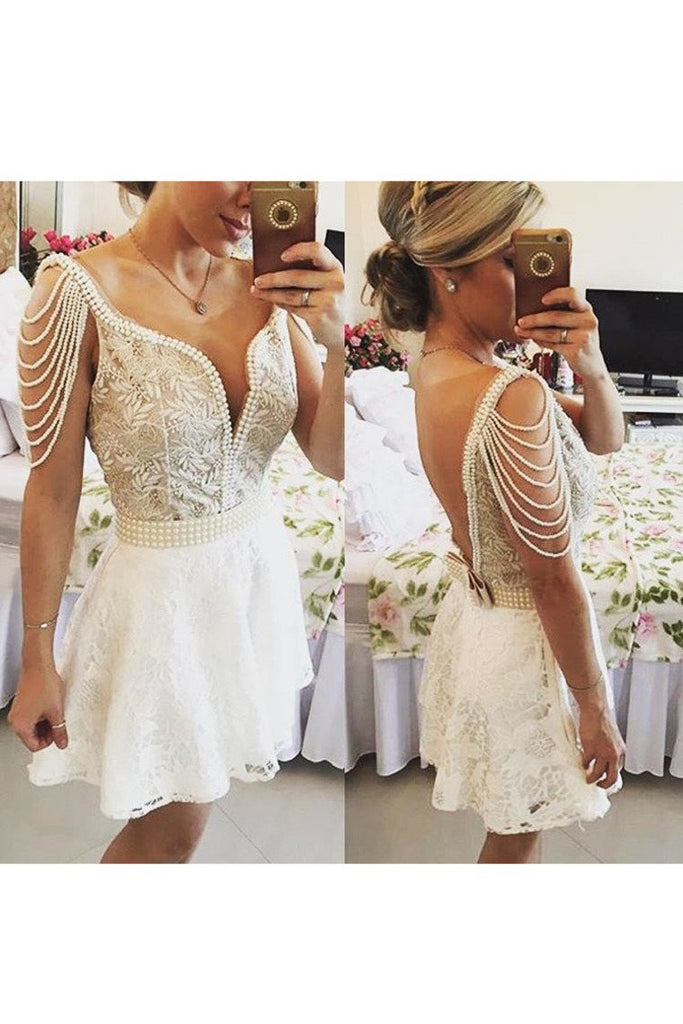 Homecoming Dresses A Line Scoop Lace With Beads And Embroidery