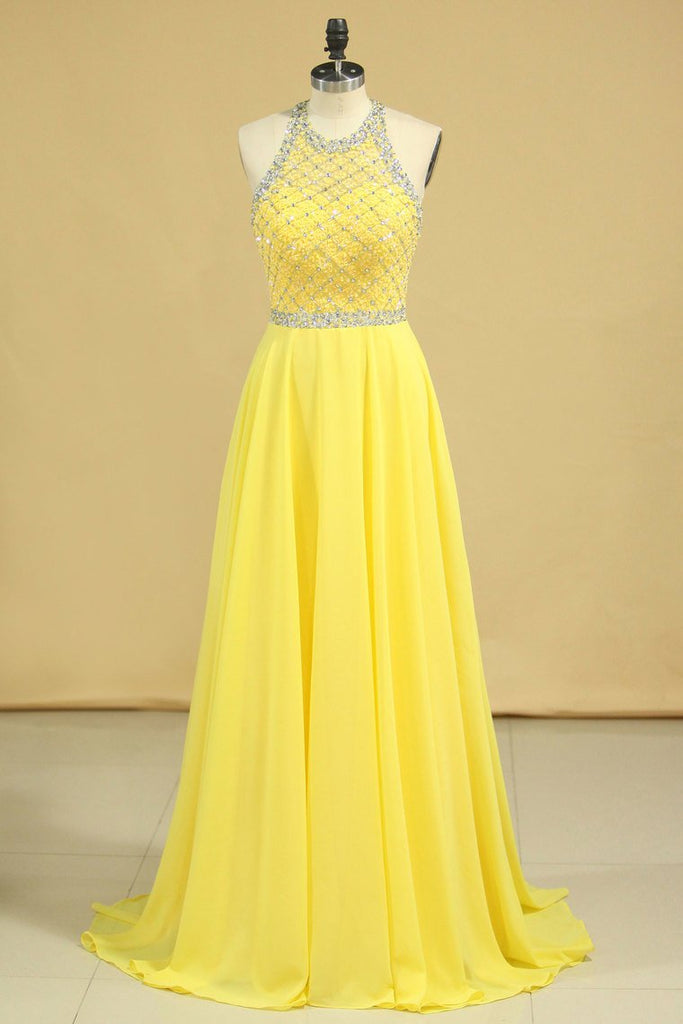 A Line Prom Dresses Halter Beaded Bodice Open Back Sweep Train Chiffon & Tulle Daffodil