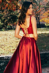 Slit Two Pieces Prom Dresses Lace Bodice Sexy Dress