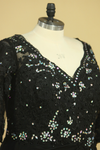 Plus Size Black V Neck Mother Of The Bride Dresses With Beads And Applique Chiffon