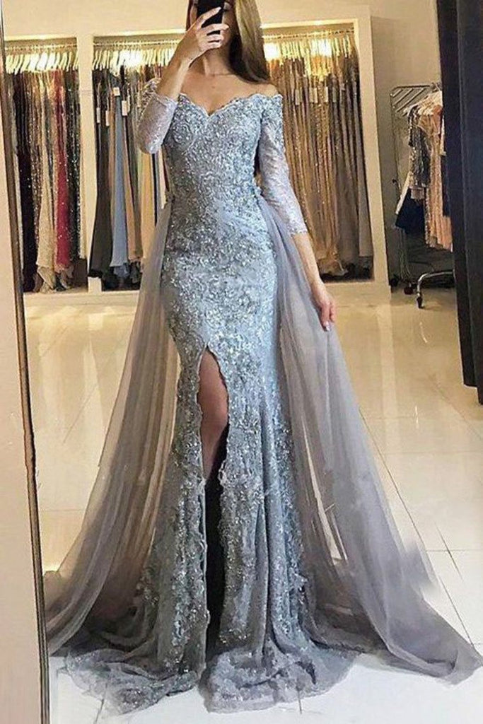 Long Sleeves Off The Shoulder Tulle With Applique Mermaid Prom Dresses