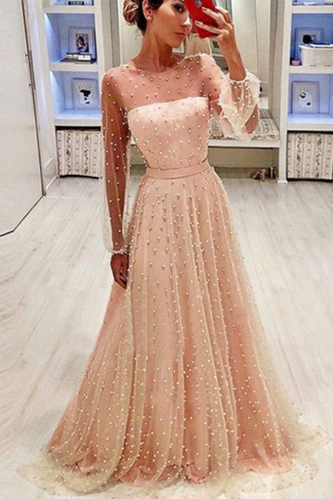 A Line Round Neck Long Sleeves Champagne & Peach Pearls Long Prom Dresses