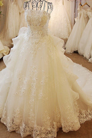Wedding Dresses Strapless High Quality Custom Made A-Line Tulle With Beads And Pearls