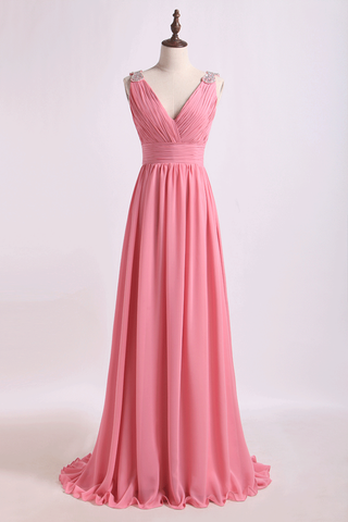 V Neck A Line Chiffon Bridesmaid Dress With Beads Floor Length
