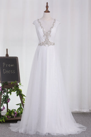 2019 Wedding Dresses Tulle Scoop A Line With Applique And Beads Sweep Train