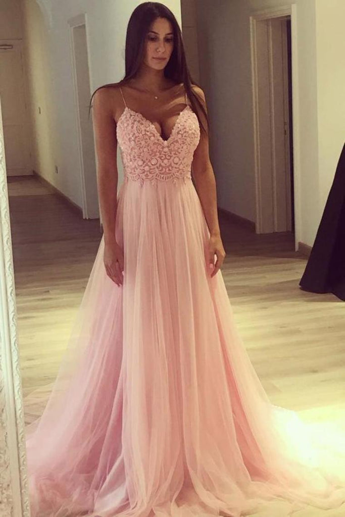 Spaghetti Straps Long A-Line Pink Lace Tulle Elegant Prom Dresses Party Dresses