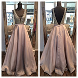 Charming V Neck Satin Formal Elegant Prom Dresses JS621